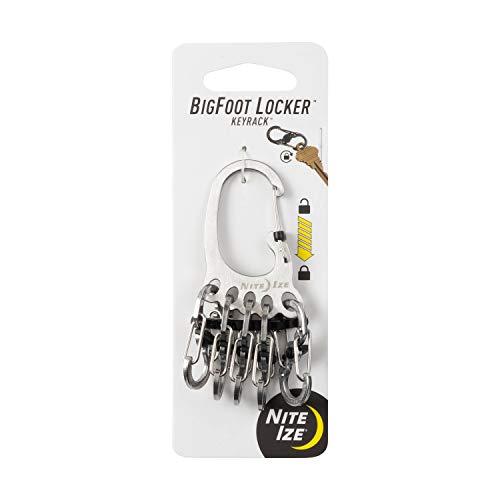Nite Ize Chaveiro KLKBF-11-R6 Bigfoot Locker, Corrente Mosquetão com 5 Biqueira S-Biner de Aço Inoxidável para Segurar Chaves Separadamente + Segurança, 1, Prata