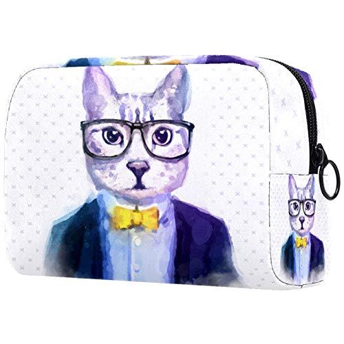 AITAI Bolsa de maquillaje grande bolsa de viaje organizador cosmético moda acuarela Hipster gatos gafas