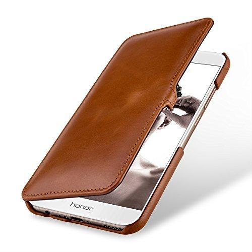 StilGut Leder-Hülle kompatibel mit Huawei Honor 8 Pro Book Type, Cognac mit Clip