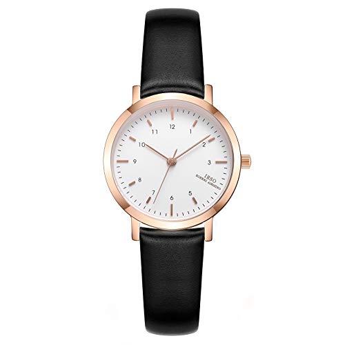 IBSO Ladies Watches Leather Band Wrist Watch Round Case Fashion Women Watches Waterproof (3639 BK LR)