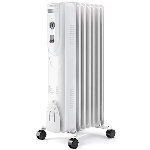 COSTWAY Oil Filled Heater, 1500W Portable Radiator Space Heater with Adjustable Thermostat, Overheat & Tip-Over Protection, Quiet Full Room Heater for Bedroom & Office, White (25' Height)