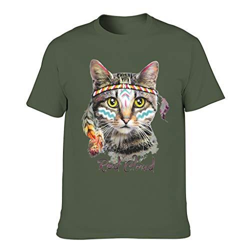 Indische Katze 3D Grafik gedruckt Bunt Jersey Script T-Shirt für Freunde Army Green 2XL
