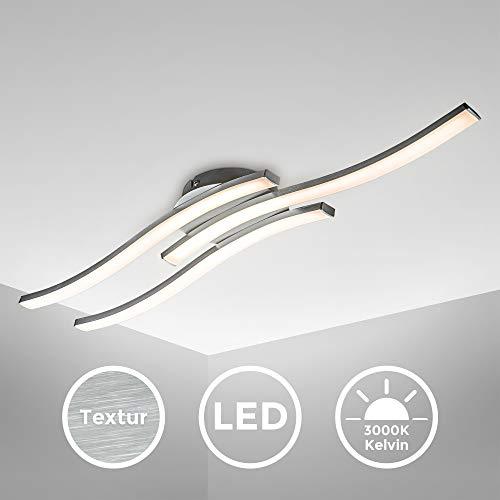 B.K.Licht plafonnier LED design moderne, éclairage plafond en forme de vague, modules LED 6W intégrés, 3x480Lm, lumière blanche chaude 3000K, finition aluminium, longueur 565mm