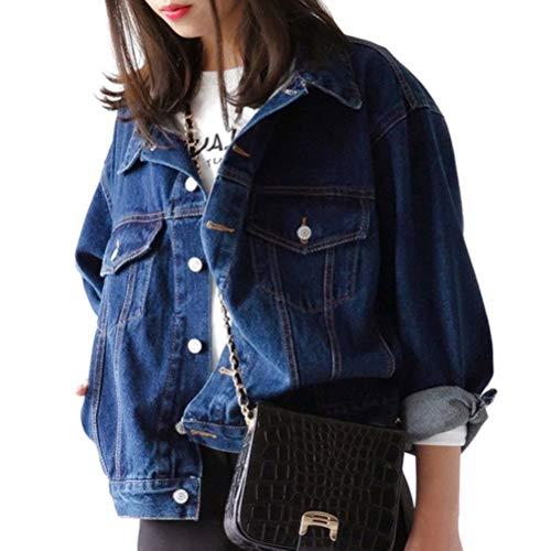 Minetom Damen Mädchen Beiläufig Stilvoll Bestickt Rose Gewaschene Jeans Denim Jeansjacke Jacket Oberbekleidung Coats Mantel E Dunkelblau 46