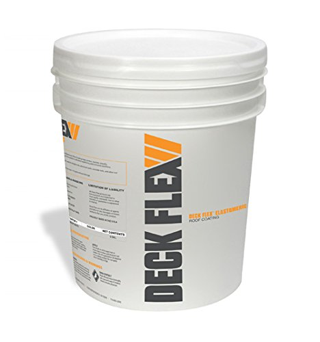 Deck Flex Elastomeric Roof Coating (5 Gallons) - Siliconized, Weather-Resistant White Reflective Protection – Up to 30% Energy Savings – Paint or Roll On RV, Metal, Asphalt, Flat or BUR Roofing
