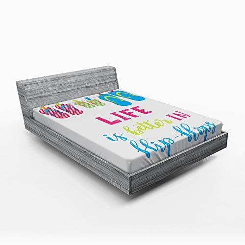 ABAKUHAUS Zomer Hoeslaken, Het leven is Beter in Flip Flops, Zachte Decoratieve Stof Beddengoed, Elastische Band Rondom, 135x 190 cm, Veelkleurig