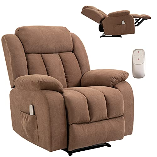 HOMHUM Massage Recliner Chair Fabric Heated Ergonomic Lounge Chair for...