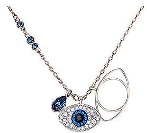 Halskette 925 Sterling Silber Zirkonia Blaues Auge Halskette Anhänger Schmuck Kette für Damen Evil Eye Halskette für Frauen, Mädchen Rosegold Multi Layer Halskette coins,Plättchen, Layer