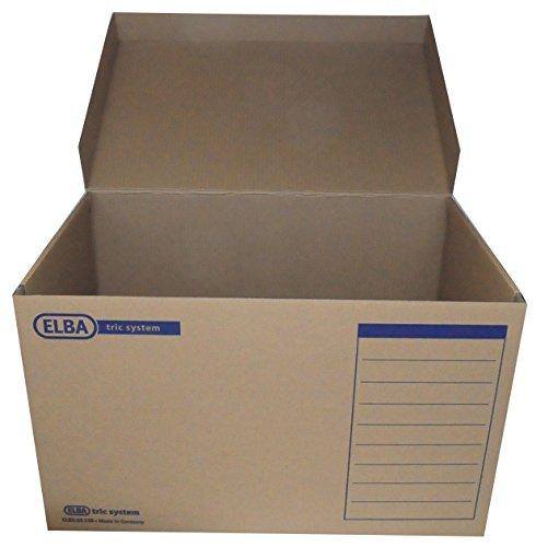 ELBA Archiv-Box, Aufbewahrungsbox tric system mit Klappdeckel, naturbraun, 10er Pack