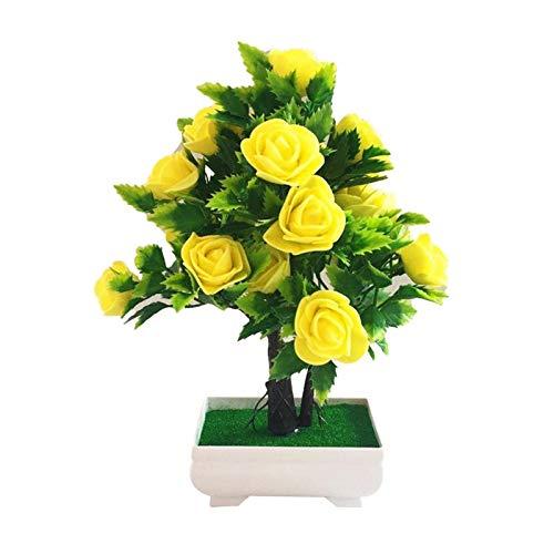 LUCHAO Künstliche Blume Pflanze Rose Topf Bonsai Büro Garten Desktop Ornament Decor Künstliche Blumen im Topf für Wohnkultur (Farbe : Yellow)