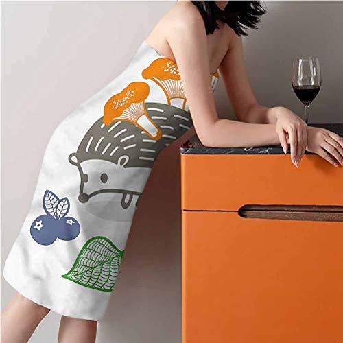 "ScottDecor Hedgehog Best Bath Towels Large,Thin and Light Beach Towels Colorful Animal Food 30"" W x 56"" L"