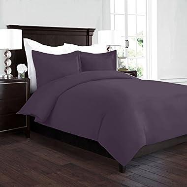 Nestl Bedding Duvet Cover, Protects and Covers your Comforter/Duvet Insert, Luxury 100% Super Soft Microfiber, Queen Size, Color Purple Eggplant, 3 Piece Duvet Cover Set Includes 2 Pillow Shams