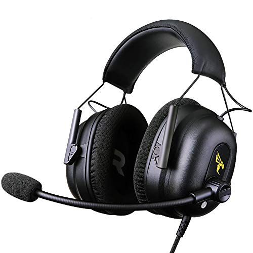 WRISCG Auriculares Gaming PS4, Cascos Gaming, Auriculares Cascos Gaming de Mac Estéreo con Micrófono Juego Gaming Headset con USB/3.5mm Jack Bajo Ruido Compatible con PC/Xbox One/Nintendo Switch
