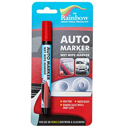 Car Paint Marker Pens Auto Writer Red - Windows, Glass, Tire, Metal, All Surfaces - Any Motorcycle, Truck or Bicycle, Water Based Wet Erase Removable Markers Pen