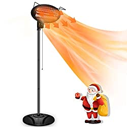 Patio Heater -1500W Outdoor Electric Heater for Patio, 3 Adjustable Power Level Outdoor Infrared Heater with Tip-over & Overheat Protection, Freestanding, Weatherproof, Courtyard,Garage Use