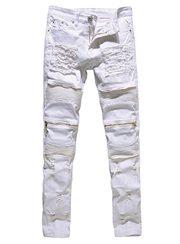 Men's Distressed Ripped Biker Moto Denim Pants Skinny Fit Zipper Jeans (W32, White)