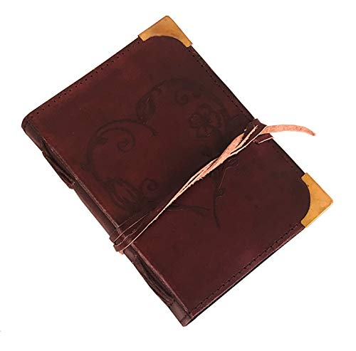 Ruzioon Leather Journal for Women - Beautiful Handmade Leather Bound Notebook with Embossed Heart Cover - for Daily Drawing and Sketching - Perfect 7X 5 Inches Size Note Book Write in Art Sketchbook