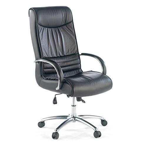 ofiprix | Sillon Oxford Piel | Sillon de Oficina | Silla Ejecutiva | Sillón Despacho | Piel Natural | Base de Aluminio | Brazos Tapizados | Color Negro