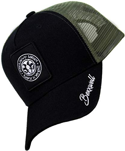 Bexxwell Trucker Cap schwarz/olivgrün mit Logo-Patch (optimale Passform, Kappe, Black, Truckercap, Logo, Cap, Unisex)