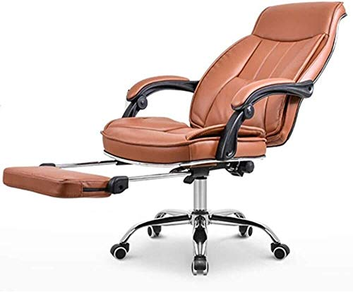 WYL Chair Home Swivel Chair PU Leather Padding Game Chair Tiltable with Footrest with 74 cm High Back Large Seat Bearing Weight 150kg (Color : Brown)