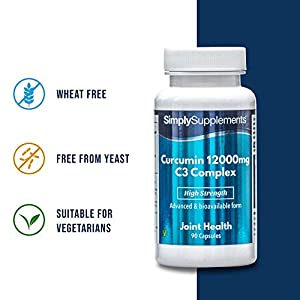 Curcumin Capsules 12000mg   High Strength with Bioperine Black Pepper Extract   Vegan & Vegetarian Friendly   Active Ingredient of Turmeric   90 Capsules = Up to 3 Month Supply