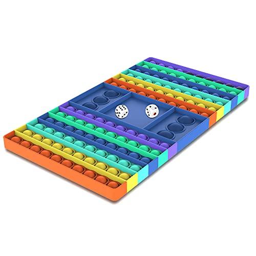 XXL Pop Game Zappelspielzeug, Regenbogen Schachbrett Push Bubble Popper Zappeln Sinnesspielzeug für Eltern-Kind-Zeit, Interaktives Jumbo Stress Relief Figetget Spielzeug zum Spielen mit Freunden