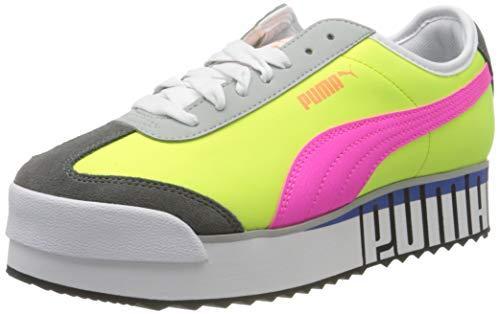 PUMA Roma Amor Logo Wn's, Sneakers Donna, Giallo (Yellow Alert-Fluo Pink-Castlerock), 40.5 EU