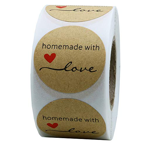 Hybsk Kraft Homemade with Love Stickers 1.5  Inch Round Total 500 Adhesive Labels Per Roll (Kraft)