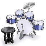 Lwieui Batería para Niños Niños Jazz Juego Conjunto Kit Musical Instrumento Educativo 5 Tambores 1Cimbal con Taburete Drum Sticks Instrumento de percusión para Niños Pequeños