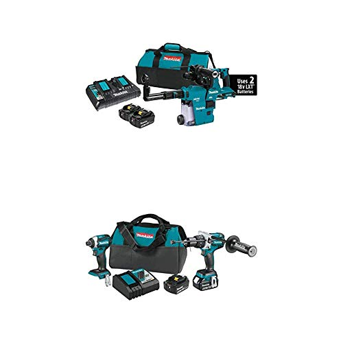 Makita XRH10PTW 18-Volt X2 LXT Brushless Cordless 1-1/8 in. Rotary Hammer Kit w/HEPA Dust Extractor AFT AWS Capable (5.0Ah) with XT268T 18V LXT Lithium-Ion Brushless Cordless 2 Pc. Combo Kit (5.0Ah)
