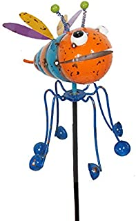 Continental Art Center Inc. CAC18125 2019 Hand Painted and ENAMELED BEE with Spinning Legs Kinetic Garden Stake Lawn and Yard Art Decor, Colorful