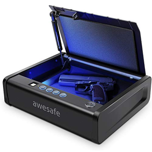 awesafe Gun Safe with Fingerprint Identification and Biometric Lock One Handgun Capacity (Tight Stocks, Limit one Purchase)