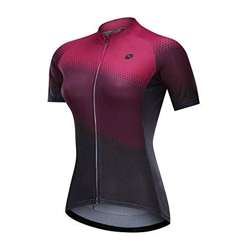 NUCKILY Radtrikot Bike Shirt Schwarz und Weiß Angel Damen Breathable Bicycle Top (GG019, M= 155cm-165cm / 55kg-60kg)