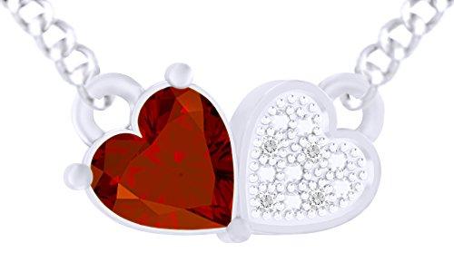 925Sterling Silber Simuliert Granat & Zirkonia weiß Love Herz Anhänger Halskette für Frauen Mädchen ('18Karat Weiß Vergoldet)