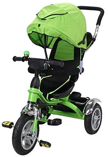 Miweba Kinderdreirad Schieber 7 in 1 Kinderwagen - 360° Drehbar - Luftreifen - Heckfederung - Laufrad - Dreirad - Schubstange - Ab 1 Jahr (Grün)