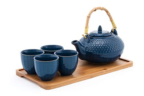 Japanese Ceramic Teapot Set with Tray