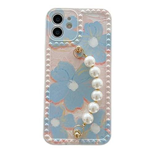 NZAUA Caja del teléfono de Silicona, Caja de la Flower de la Cadena de Perlas, Estuche Suave Anti-Gota y a Prueba de Golpes, Conveniente para una Caja del teléfono Unisex iPhone 7