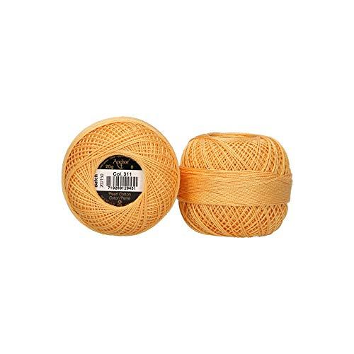 Anchor 4593008-00311 - Hilo para bordar (100% algodón, grosor 8, 164 m), color naranja claro