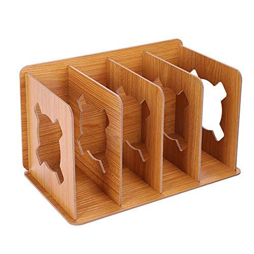 Sujetalibros con 4 compartimentos, revistero de madera, cajas de almacenamiento, organizador de escritorio, pisapalibro, clasificador de documento, módulo de archivo y revistas