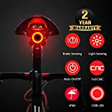 Smart Bike Tail Light, USB Rechargeable Ultra Bright Rear Bike Light Auto On/Off, IPX6 Waterproof LED Bicycle Tail Light for Any Road Bikes