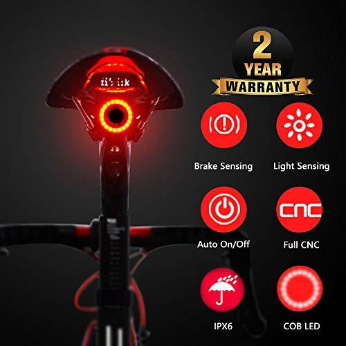 Luce posteriore per bicicletta Induzione del freno USB Ricaricabile Luce per bicicletta intelligente Avviamento automatico Sensore di frenata Sensore IPx6 Impermeabile