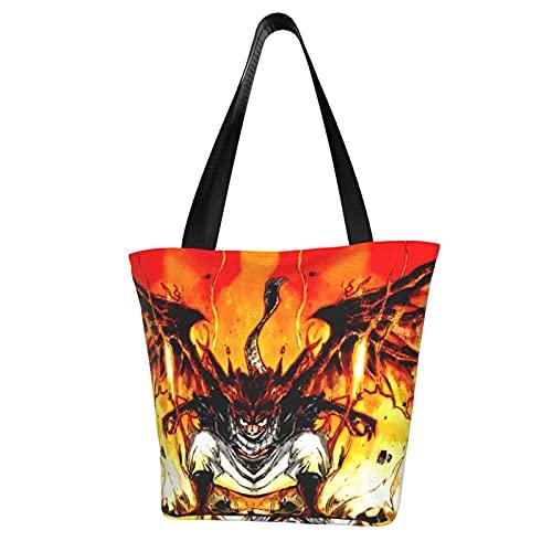 Bolsa de compras de lona para mujer con diseño de cola de hada de anime de gran capacidad, un bolso de hombro impreso respetuoso con el medio ambiente reutilizable para