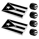 Dsycar 2 Pack Puerto Rico Black and White Flag Metal Decal Auto Emblem - Gifts 4 Free Puerto Rico Flag Valve Stem Caps (Black White Puerto Rico Flag)