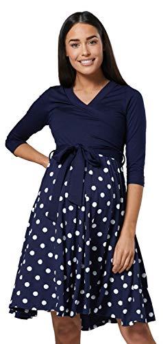 HAPPY MAMA Damen Umstandskleid Stillkleid 3/4 Ärmel 525p (Navy & Navy mit Punkten, 42-44, XL)