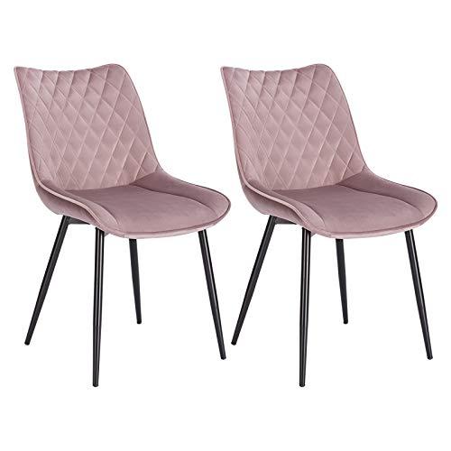 WOLTU® Esszimmerstühle BH209rs-2 2er Set Küchenstuhl Polsterstuhl Wohnzimmerstuhl Sessel mit Rückenlehne, Sitzfläche aus Samt, Metallbeine, Rosa