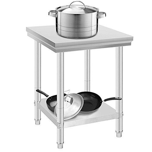 Summile Arbeitstisch aus Edelstahl, für Küche, Gastronomie, Arbeitsplatte, Essensvorbereitung, 60 x 90 x 80 cm, mit Hintergrundbeleuchtung
