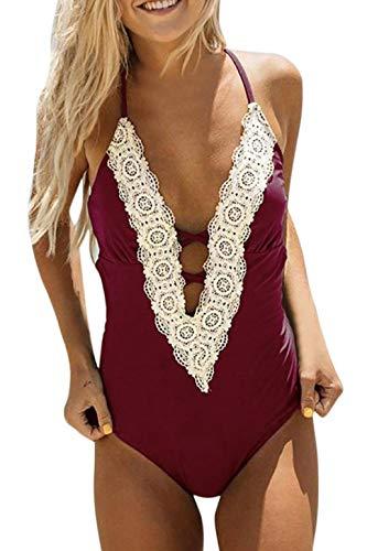 heekpek Damen Badeanzüge Einteiler Gepolsterte Tief-V Badebekleidung Bikini Set Halter Bademode Push Up Bikini Monokini