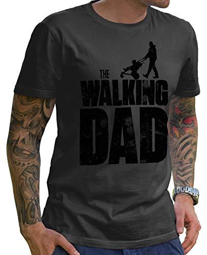 Stylotex Lustiges Herren Männer T-Shirt Basic | The Walking Dad | Geschenk für werdende Papas, Größe:XL, Farbe:Darkgrey-schwarz