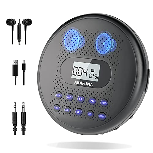 Portable CD Player with Dual Stereo Speakers, ARAFUNA Rechargeable CD...