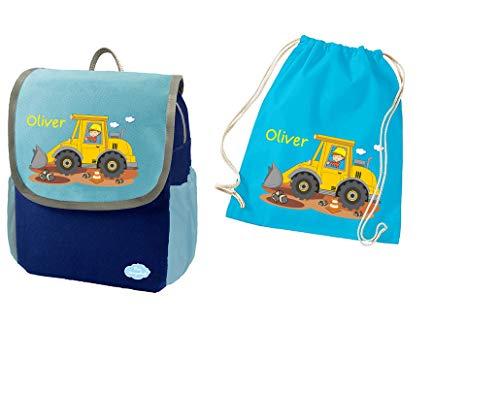Mein Zwergenland Set 2 Kindergartenrucksack und Turnbeutel Happy Knirps Next mit Name Baustelle, 2-teilig, Blau